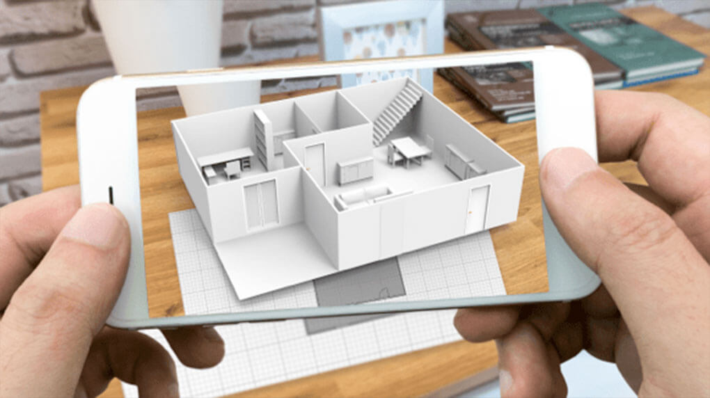 iPhone showing 3D house plan through augmented reality