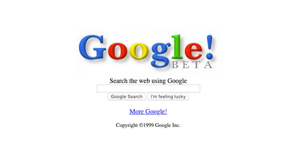 Google's homepage in 1999