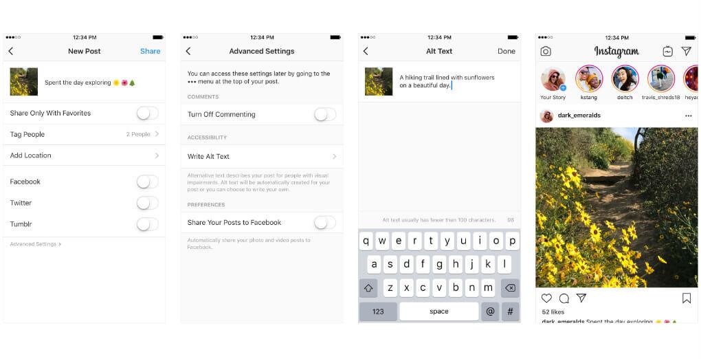 Instagram feature for alt text