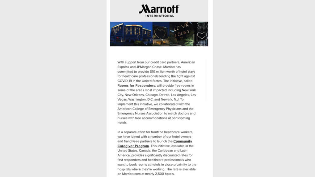 Email from Marriott International addressing their community and the initiatives they are taking during covid