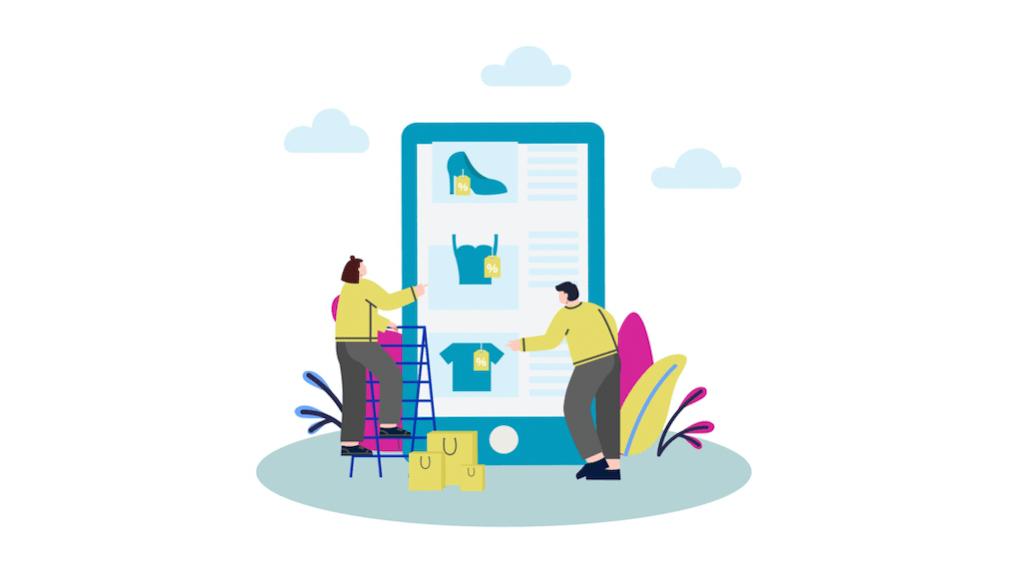 avatars shopping on big tablet