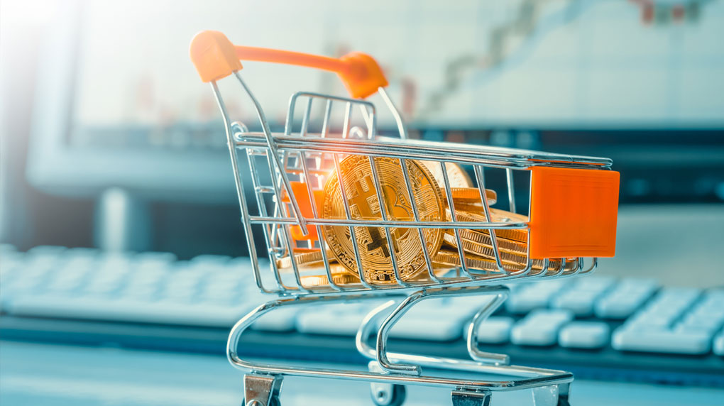 bitcoin-in-shopping-cart-for-ecommerce-purchase