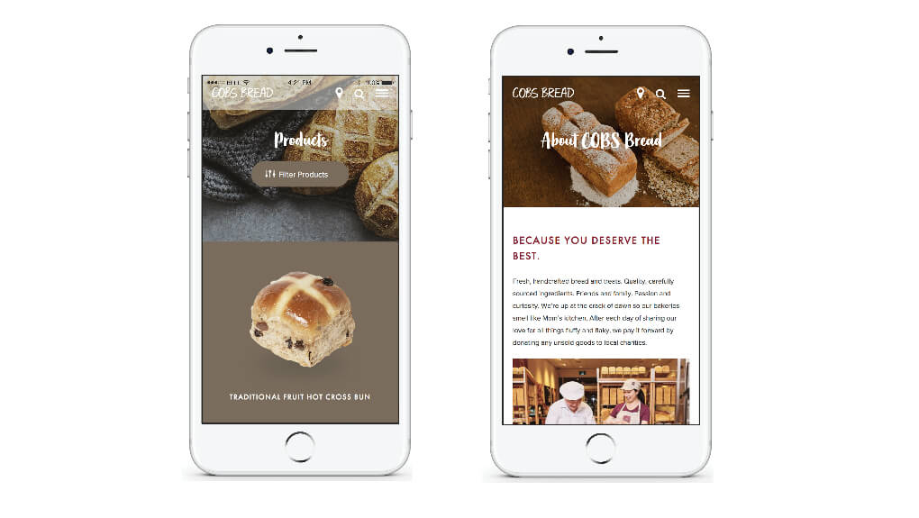 cobs bread landing pages on mobile devices