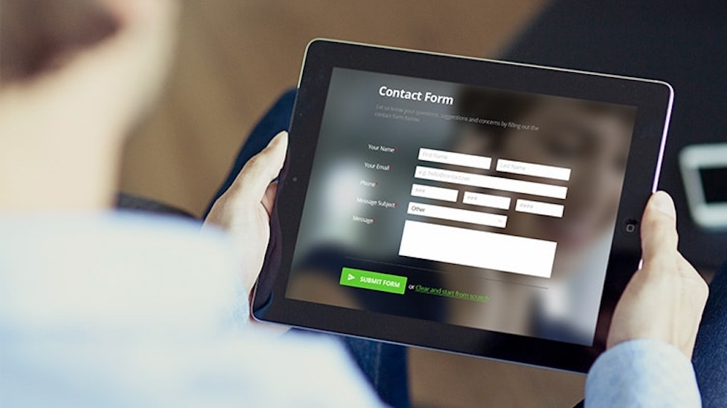contact form screen on tablet