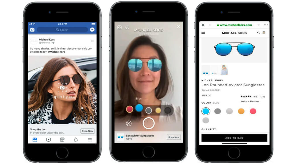 example of Facebook's augmented reality shopping ads for Michael Kors sunglasses