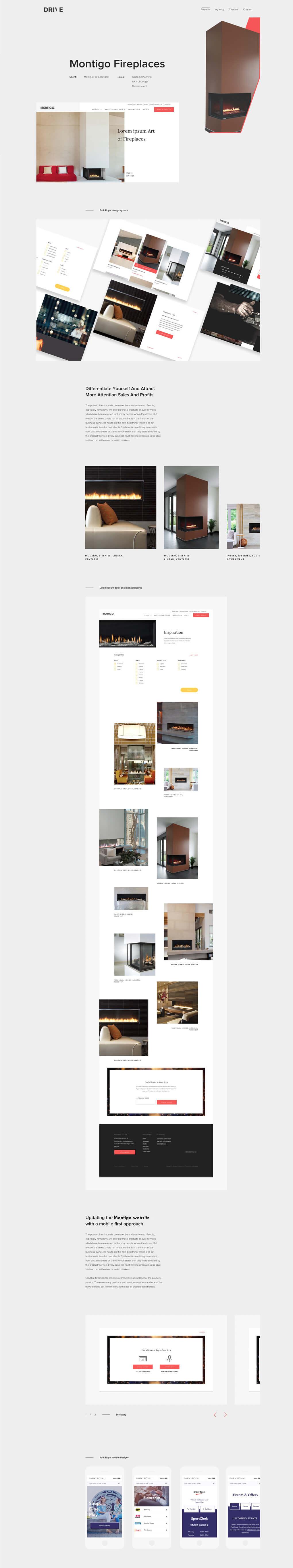 screenshot of Montigo Fireplaces case study web page on Drive Digital website