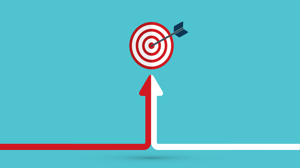two arrows pointing up to bulls eye