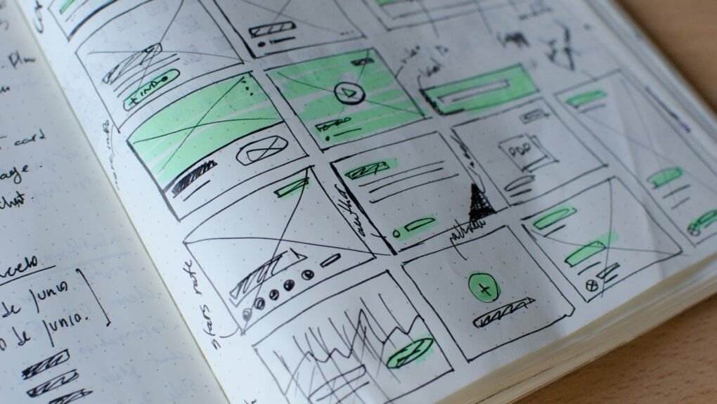 website structure mockup drawings on paper