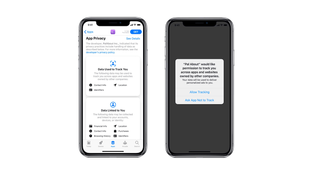 iOS14xfb popup and privacy settings on phone