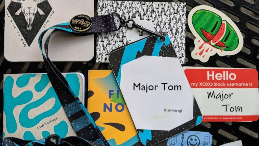 Major Tom name tags at XOXO 2018 event